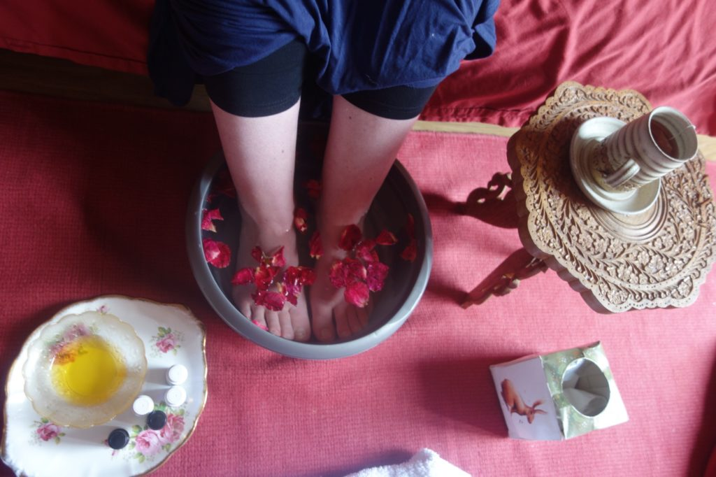 Rose petal foot soak for postnatal mama