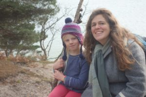 Daughter Skye and myself on a beach on Brownsea Island, 2016