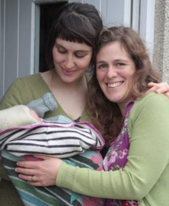 My first doula baby, Iska with her mama Bella and me