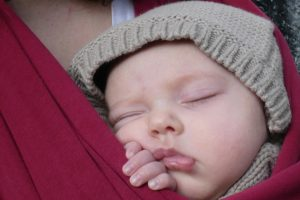 Sleeping babe in sling